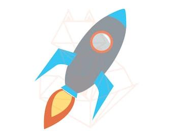 Cute Rocketship SVG DXF