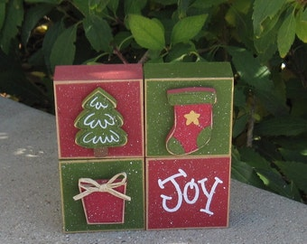 4 Block CHRISTMAS THEMED SET with a tree, stocking, present, and Joy for desk, shelf, mantle, holiday, December, xmas, noel, home decor