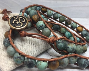 African Turquoise + Tigers Eye Wrap Bracelet - Distressed