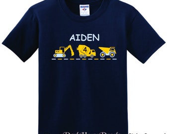 Personalized Construction Vehicles T shirt, boy tee with name, dump truck, cement, loader