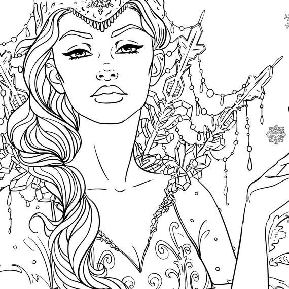 Snow Queen Adult Coloring Page Fantasy Line Art