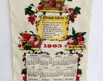 Vintage 1963 Linen Tea Towel Calendar with Flowers and Kitchen Prayer by Stevens