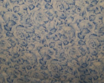 "Blue Flowers Fabric  100% Cotton 44"" Wide By The Half Yard 1/2"