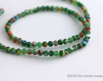 4mm Green Millefiori Beads Round 35cm Strand (approx 95 beads) MIL022