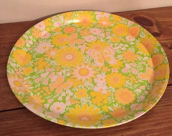 Bright Flower and Butterfly Tray