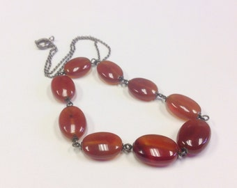 Vintage, Art Deco, silver and carnelian gemstone necklace.