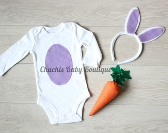 Easter Bunny Baby Girl Outfit Bunny Ears headband Baby Easter onesie Baby Easter Costume