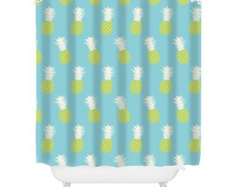 pineapple shower curtain, pineapple decor, aqua bathroom decor, kid's shower curtain, fun shower curtain, yellow bathroom, pineapple shower