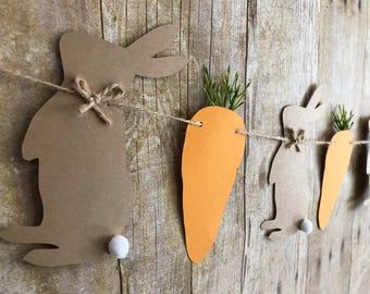 Easter banner/Bunny banner/Bunnies and carrots/Carrot banner/Easter bunnies/Easter decor/Bunny decor/Easter garland