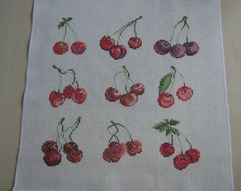Different varieties of cherries cross stitch Embroidery
