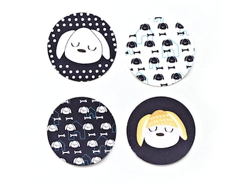 Round Dog Stickers - Circular Seals for Envelopes (Pack of 8)