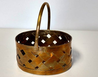 Woven Brass Oval Basket with Handle