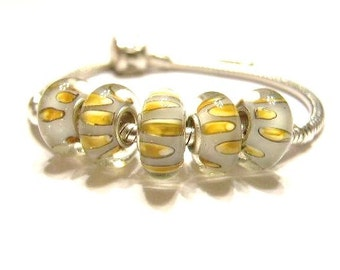 Two (2)  Grey and Gold Orb, Glass Lamp-work, Large Hole, Slide Charm Bracelet Beads