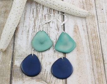 Blue earrings, Tagua Earrings, 925 Sterling silver, Boho earrings, Dangle Long earrings, Spring Jewelry, Gift ideas, Eco friendly Earrings