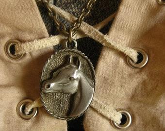 Horse Head Pendant Oval Vintage Equestrian Necklace