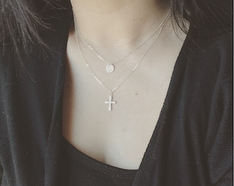 Cross Layered Necklace, Cross Initial Layered Necklace, Sterling Silver Initial and Cross layered Necklace, Personalized Gift, Holiday Gift