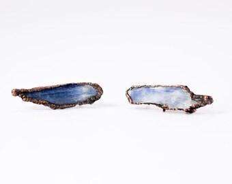 Raw kyanite studs | Blue kyanite crystal earrings | Rough Kyanite silver post earrings | Raw crystal stud earrings | Kyanite post earrings