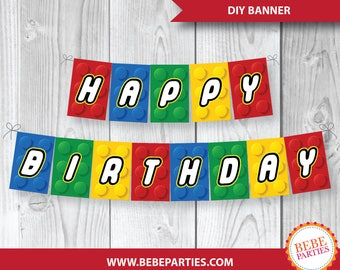 "DIGITAL Lego Building Blocks Banner | H A P P Y  B I R T H D A Y | 5"" x 7.5"" Rectangles 