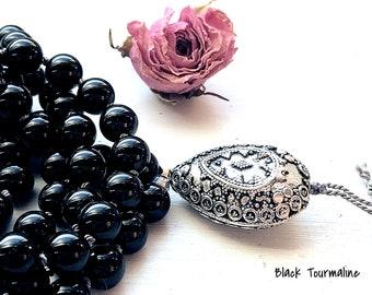 Black Tourmaline Mala Necklace / Knotted Prayer Beads / 108 Mala / Sterling Silver Bali Necklace / Knotted Gemstone Necklace / Mindful