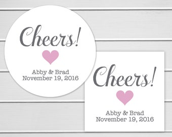 Cheers Stickers, Alcohol Wedding Favor Labels, Customizable Wedding Stickers (#215)