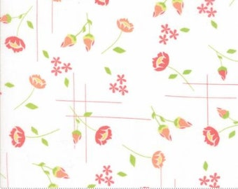 Lulu Lane ~ Floral Meadow in White Coral by Corey Yoder ~ Moda fabrics .. 29021 11 ~ By the Yard