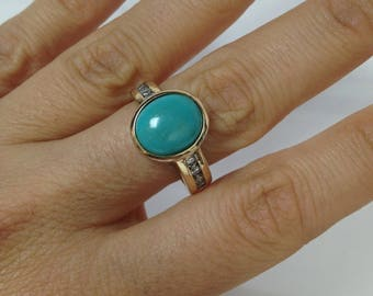 Turquoise Ring, Oval Turquoise Ring, 925 Sterling Silver Gold Plated Turquoise Ring