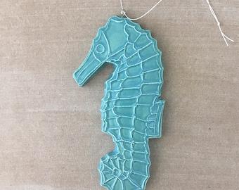 Handmade ceramic seahorse ornament