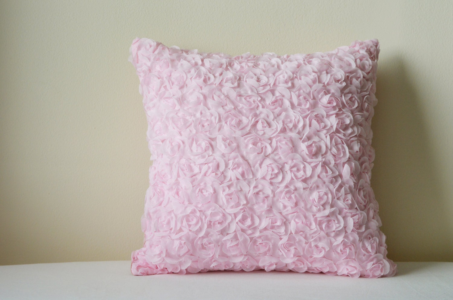 Light Pink Rosette Pillow Cover 17-D Pink Roses Cushion Cover