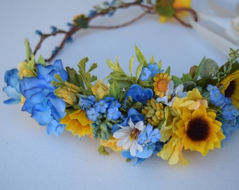 Sunflowers & Royal Blue Flower Crown - Flower Girl Crown - Sunflower Wedding Halo - Rustic Wedding Hair Piece - Sunflower Flower Girl Halo