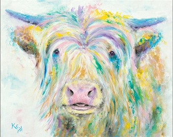 Cow Painting on Canvas - Highland Cow Art - Cow Canvas Painting - Acrylic Cow Painting - Cow Wall Art - Cow Artwork - Highland Cow Painting