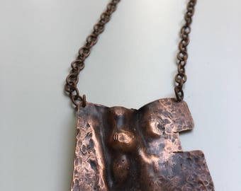 Short Copper necklace-from art jewelry copper necklace hand made artistic hammered copper necklace