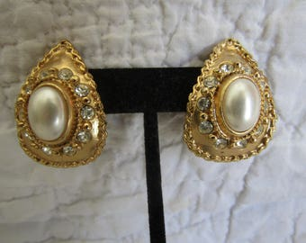 Vintage Clip Earrings with Faux Pearls and Rhinestones