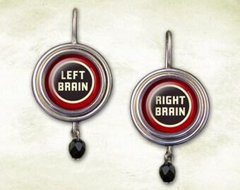 Witty Jewelry Earrings, Left Brain Right Brain Dangle Earrings, Funny Clever Word Play, Glass Image Button Earrings, Handmade Lightweight