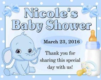 15 Blue Elephant Baby Shower favors MAGNETS