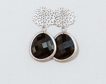 Free Shipping. Silver Flower Brass Earring with Black Framed Glass Pendant. Hand made