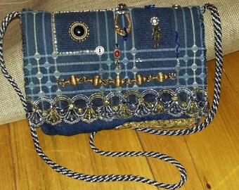 Blue Jean Purse ,Free shipping.