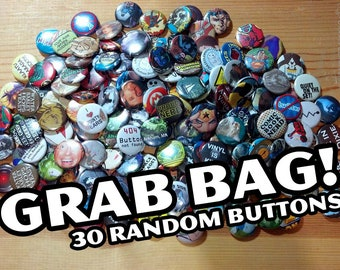 Pop Culture Button Grab Bags... 30 Random Pins....Recycled Art