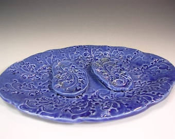 Ceramic soap dish, pottery soap holder dish, pottery soap dish, oval soap holder, ceramic sponge dish, pottery sponge holder cobalt blue