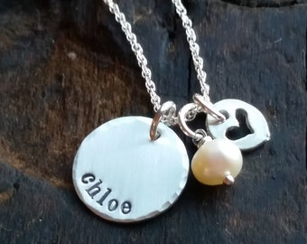 Personalized Necklace  .  Custom name necklace . Personalized gift for Mom  .  Hand Stamped Jewelry Gift  .  Mothers Day Gift