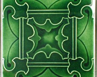Ceramic tile, art tile, butterfly tile, green tiles, accent tile, decorative tile, handmade tile, kitchen tile, fireplace tile, wall hanging