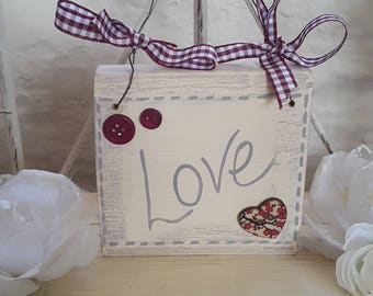 Shabby Chic Little Inspiration Sign - Love, Hope, Dreams, Wish, Peace