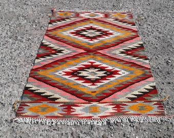 "Turkish Kilim rug, Bohemian Rug, vintage rug, turkish Kilim, Turkish Rug, handwoven rugs, vintage kilim rug, Kilim Rug, Rugs 4'2"" × 5'11"""
