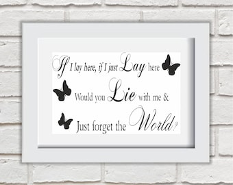 If I Lay Here If I Just Lay Here Framed Quote Print Mounted Word Art Wall Art Decor Typography Inspirational Quote Home Gift
