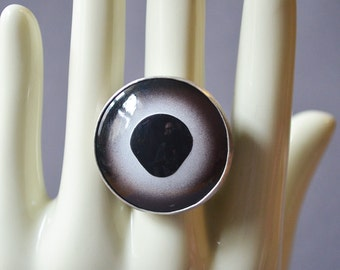Silver Fish Eye Ring Made With Glass Taxidermy Eye