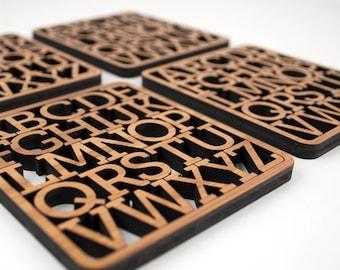 Alphabet Coasters: Modern Typography Wood Coasters (Set of 4) Bamboo