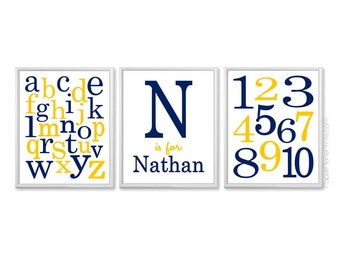 Baby Boy Nursery Decor, Personalized Kids Name Sign with Number and Alphabet Art Prints, Playroom Art, Boys Room Pictures, Artwork for Kids