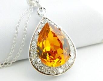 Orange Bridesmaid Jewelry Set of 7 Bridesmaid Gifts, Tangerine Teardrop Necklace, Orange Bridesmaid Necklace, Crystal Pendant Necklace, Fall