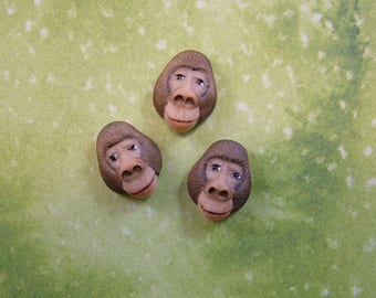 Gorilla Head Button set of 3