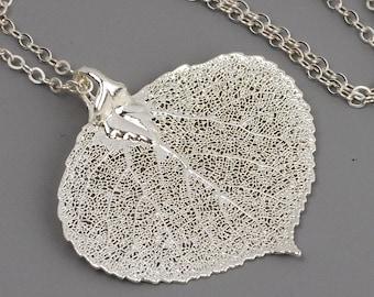Sterling Silver Leaf Necklace, Silver Dipped Real Aspen Leaf Pendant, Large Leaf Necklace, Leaf Jewelry