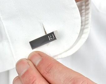 Personalised Silver Initial Bar Cufflinks - Gift For Dad - Personalized Cufflinks - Wedding Cufflinks - Gift For Grandad [ECUFF-001-S]